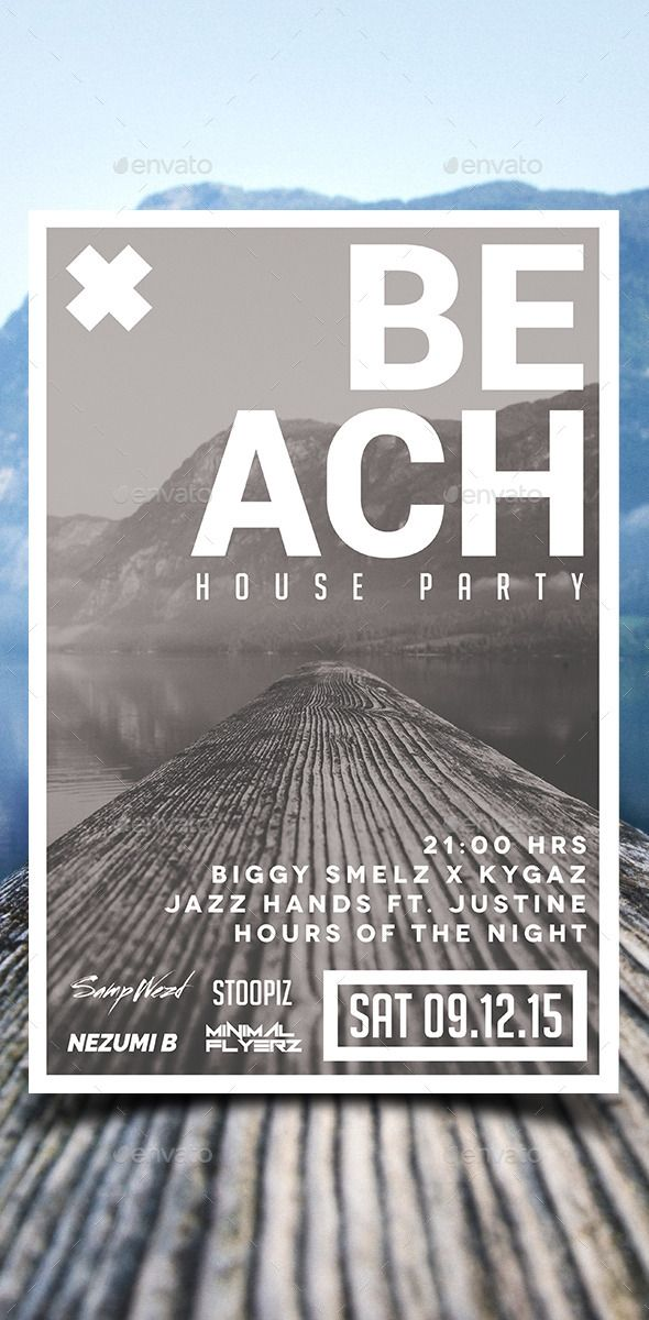 Beach House Party Flyer Template PSD #design Download: http://graphicriver.net/item/beach-house-party-flyer/12843524?ref=ksioks