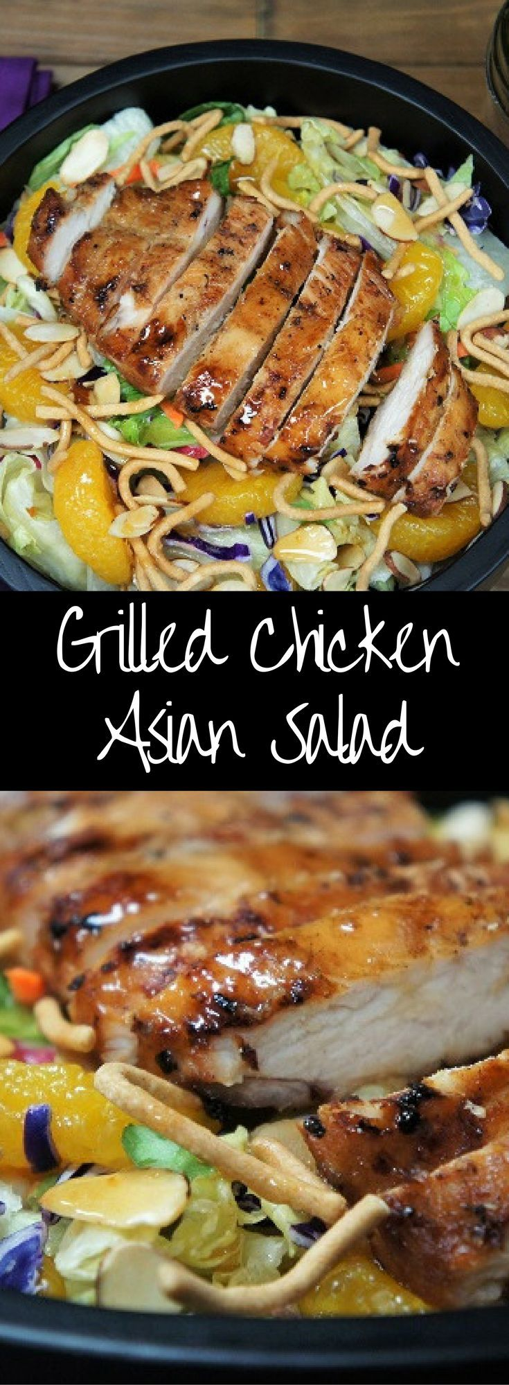 This Grilled Chicken Asian Salad is so good you can serve your family salad for dinner and you won't hear any complaints. A generous bed of lettuce is topped with sweet mandarin slices, toasted almonds, crunchy Chow Mein noodles and a flavorful chicken breast that's been marinated in an Asian inspired sauce. Even the dressing for this salad is special, it's a homemade Orange Marmalade Dressing that's as easy to make as it is delicious. Enjoy!