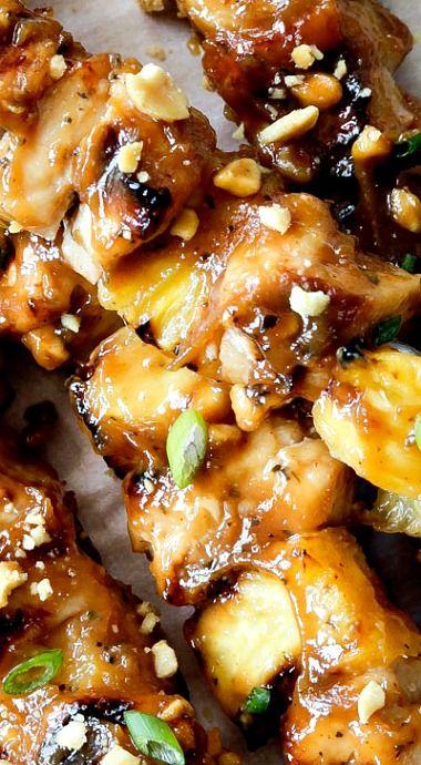 Thai Pineapple Peanut Chicken Satay