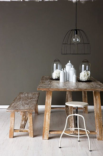 A raw wood table with bench and metal stool @rosainspiration.blogspot.com
