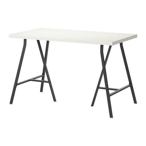 IKEA - LINNMON / LERBERG, Table, white/gray, , Pre-drilled leg holes for easy assembly.