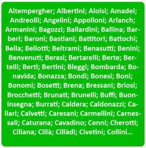 Surnames of Trentino - Cognomi di Trentino