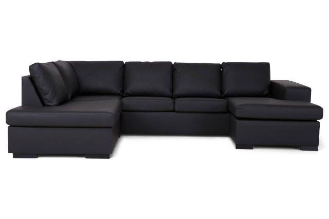 Memphis U-sofa venstre - Svart Lær