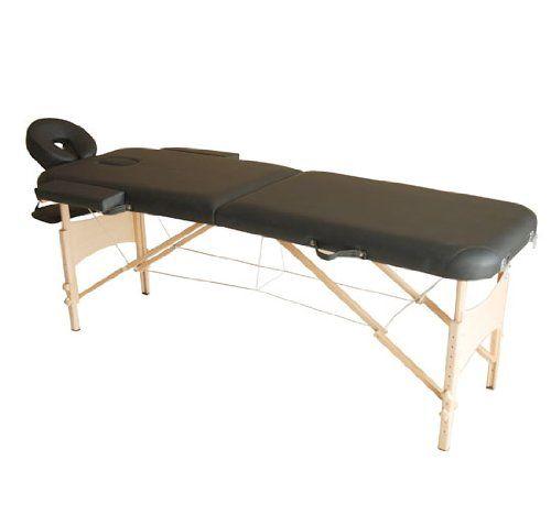 Homcom Table de massage pliante 2 sections Noir: -Couleur: noir;-Matériau: similicuir PU+bois;-Dimensions totales: 182x60cm (Lxl)(sans…