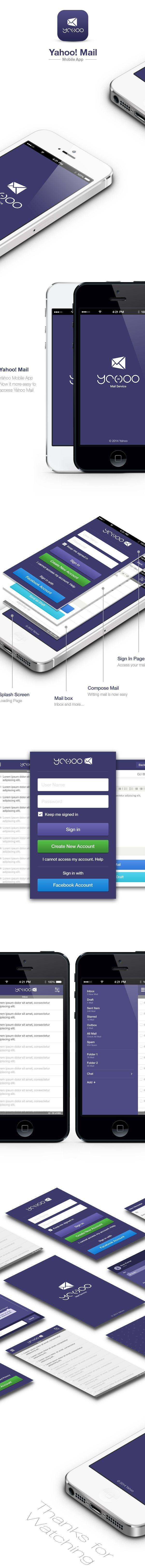 Yahoo Mail App Design by Mani Bharathi, via Behance