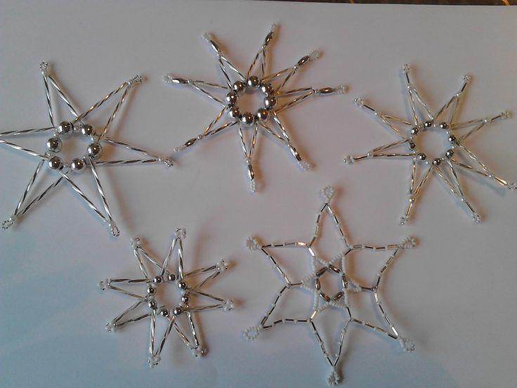 Vánoční ozdoby sada bílo-stříbrná 5ks