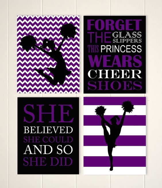 Girls wall art, cheerleader wall art, girls room cheer decor, chevron wall art, teen girl wall art, set of 4, choose your colors and sports by PicabooArtStudio