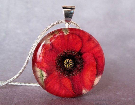 Papavero collana charm ciondolo rosso papavero illustrazione botanica, ciondolo resina papavero collana, pendente arte, papavero gioielli, g...