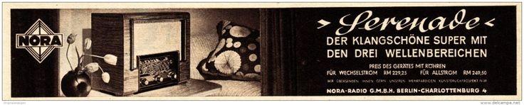 Original-Werbung / Anzeige 1937 - NORA SERENADE RADIO / BERLIN - CHARLOTTENBURG - ca. 180 x 35 mm