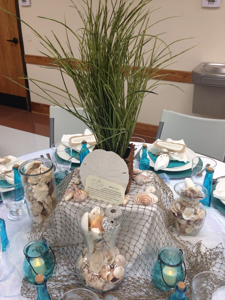 diy beach theme wedding centerpieces%0A Tables of love Ocean Beach theme  Ocean CenterpiecesBeach DecorationsTable  DecorationsLadies Ministry IdeasBeach