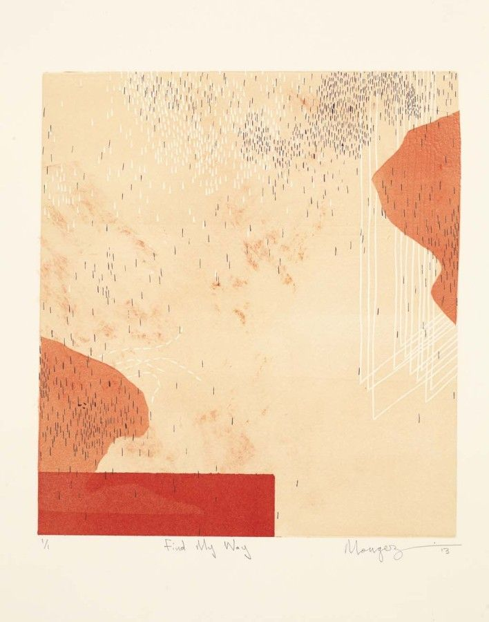 """""""Find my way"""" (2013) Monoprint with drypoint"""