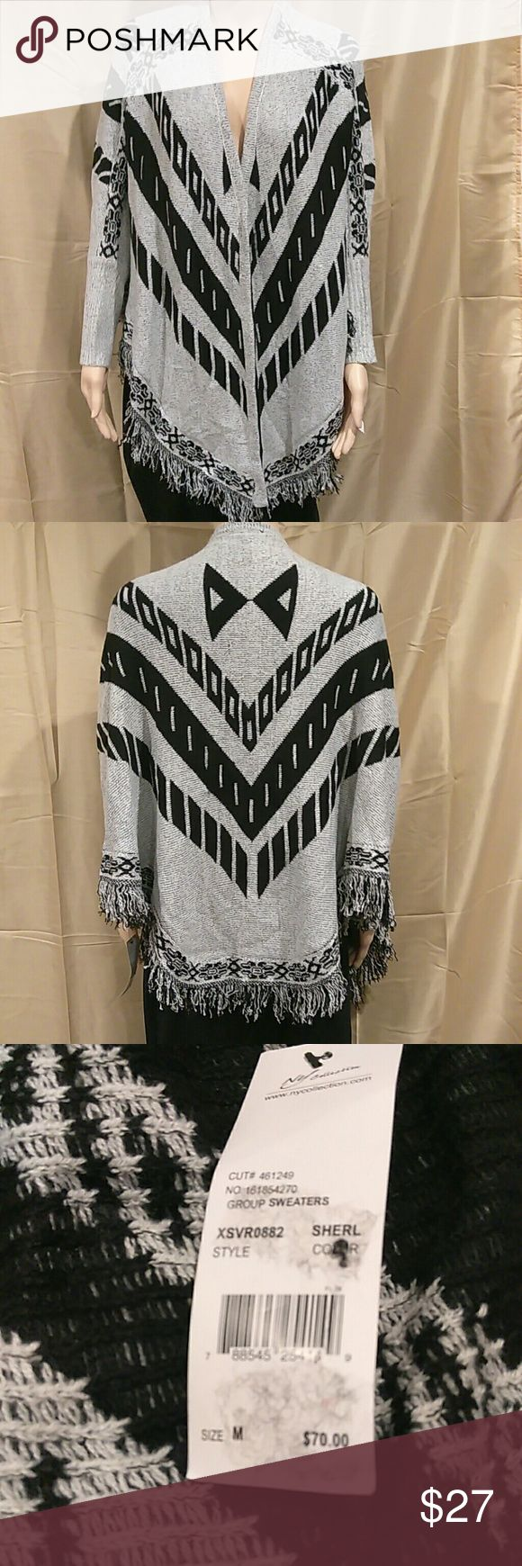NY Collection Tie front Aztec Cardigan New with tags, price is negotiable. Tie front Aztec cardigan with fringe hem. Material is 90% acrylic and 10% polyester. NY Collection Sweaters Shrugs & Ponchos
