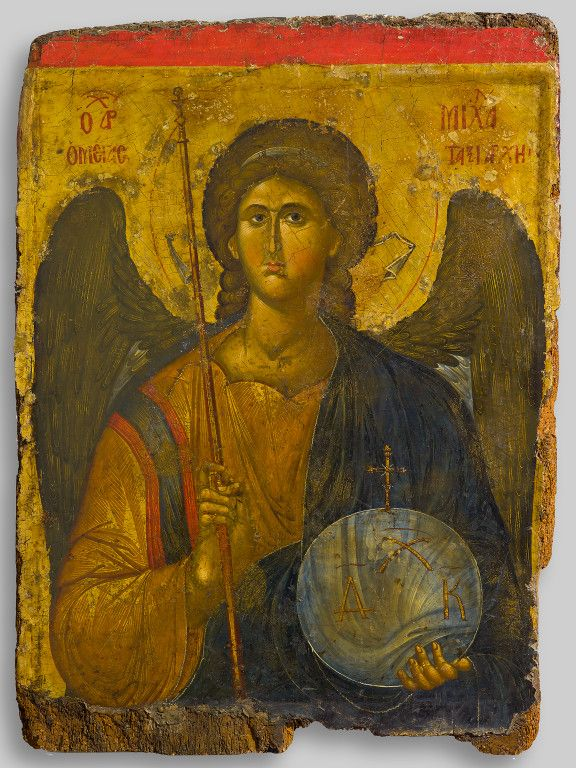 """Icon of the archangel Michael, Constantinople, first half of 14th century, tempera and gold on wood, Athens, Byzantine and Christian Museum, Gift of a Greek of Istanbul, 1958"""