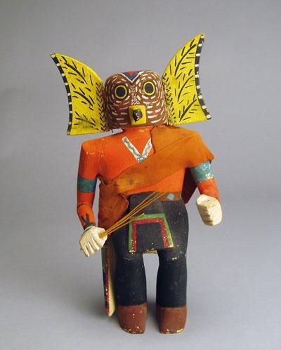 """Hopi Mongwa Kachina Doll, c.1950-60    12"" height  A Hopi hand carved cottonwood root kachina doll c.1950-60 representing the Mongwa Kachina or Great Horned Owl Kachina.""    From: http://elmoreindianart.com/Detailed/1199.html"
