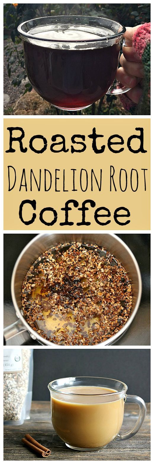"""Learn how to make this tasty and healthy roasted dandelion root """"coffee""""! It's delicious with the addition of chicory root and cinnamon."""