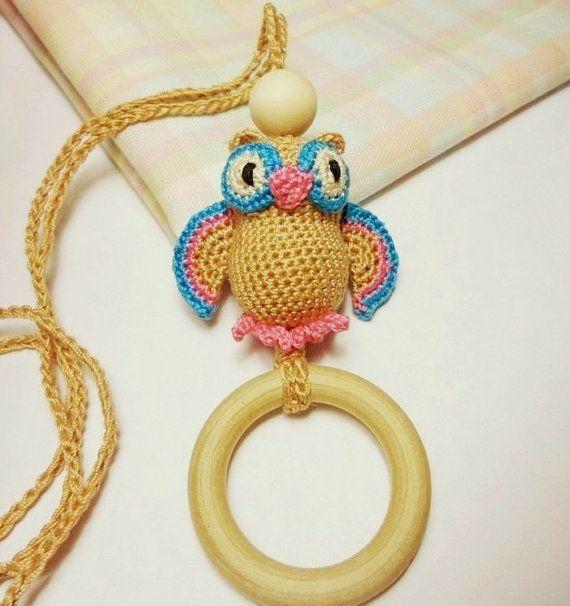 Crochet Owl Pendant Wooden Teething Ring Nursing by sweetshtuchky, $18.95