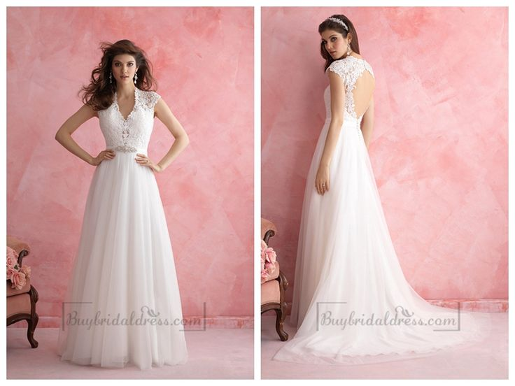 Cap Sleeves V-neck Wedding Dress with Keyhole Back