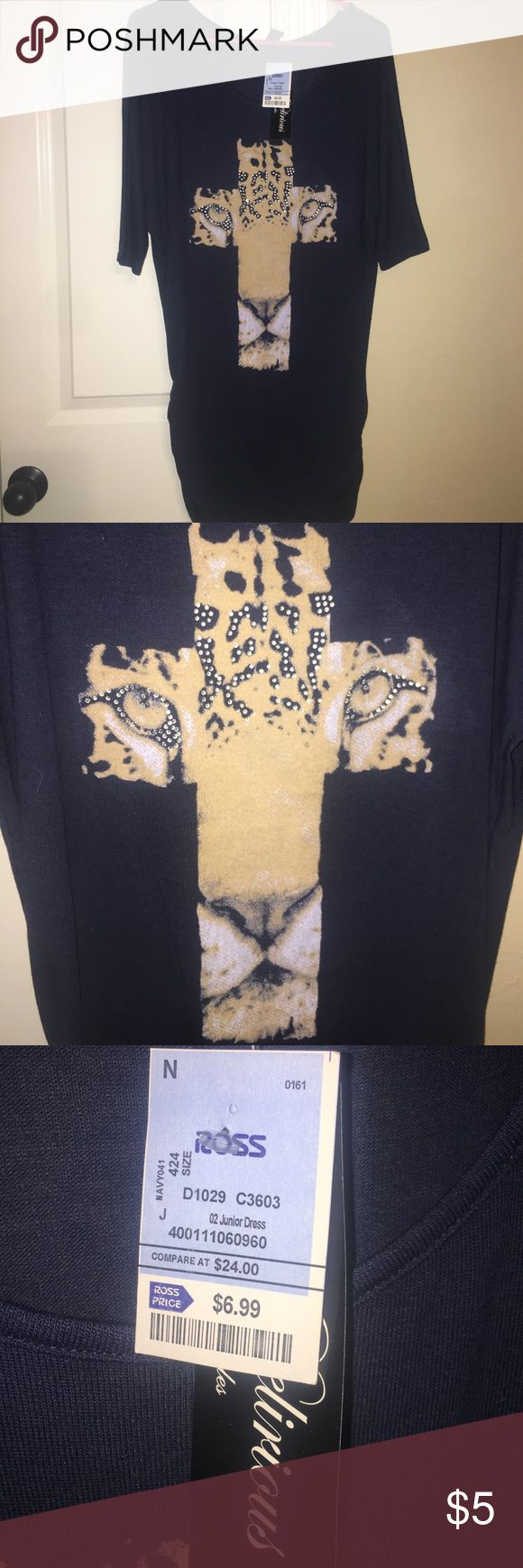 NWT- navy blue tunic with blingy leopard design Super cute but never worn-would be great with leggings Tops Tunics
