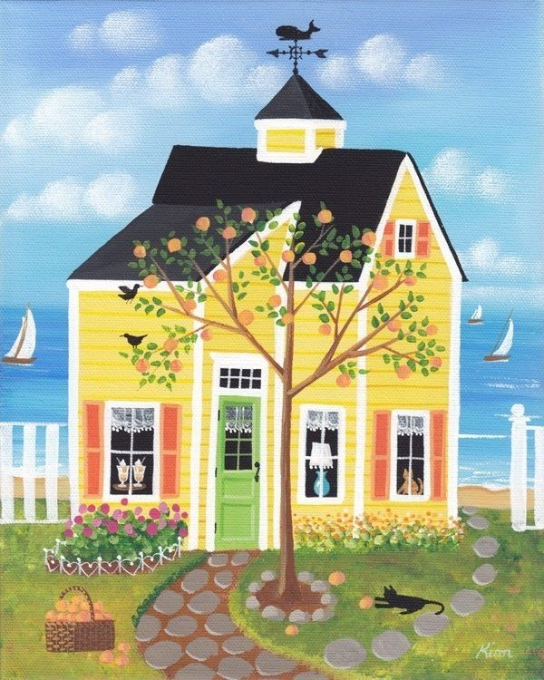 Peach Tree Lane Cottage Folk Art Print by KimsCottageArt on Etsy