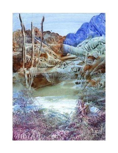 The Pond - Encaustic art wax fantasy landscape painting.