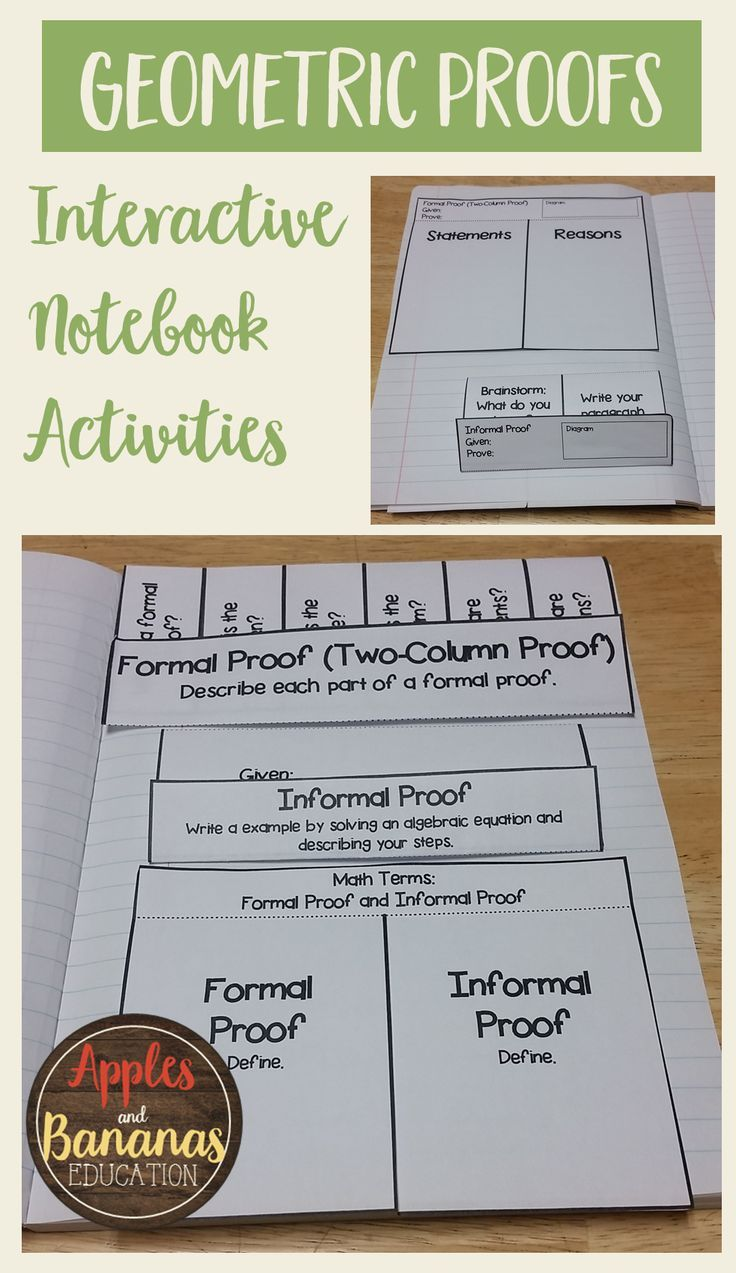 Introduce your students to proofs using scaffolded notes and interactive notebook activities (INBs).  This packet covers two-column proofs, formal and informal proofs, solving and justifying simple algebra problems, and more.  Interactive notes are a great way to engage all types of learners.