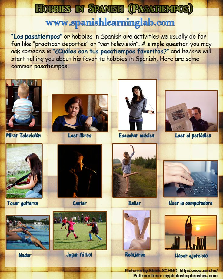 spanish hobbies Even if you love working on your spanish, sometimes you just need to play learn the spanish equivalents of your favorite games, sports, and hobbies and the verbs to use with them.
