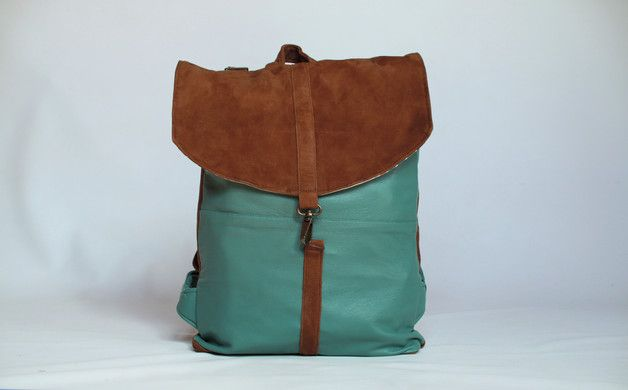 Backpacks – WAXED CANVAS BACKPACK (green&brown) – a unique product by…