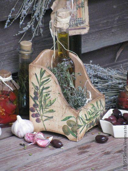 """Корзины, коробы ручной работы. Ярмарка Мастеров - ручная работа. Купить """"Olive..""""   Короб для специй.. Handmade. Коричневый"""