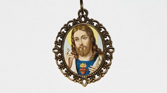 Religious Jewelry Jesus Necklace Sacred Heart by TheGoblinCave
