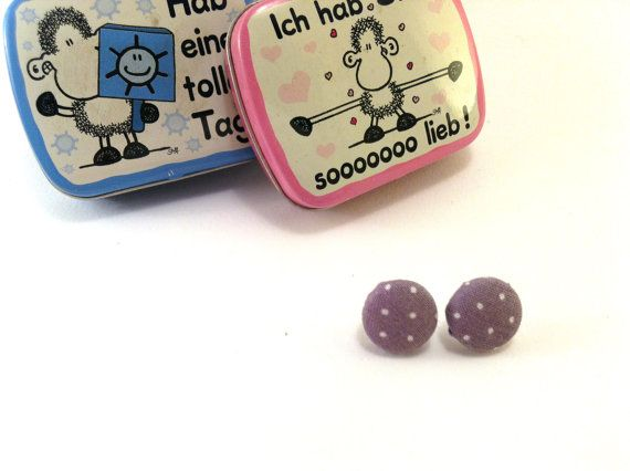 Grey with white dots fabric covered button earrings