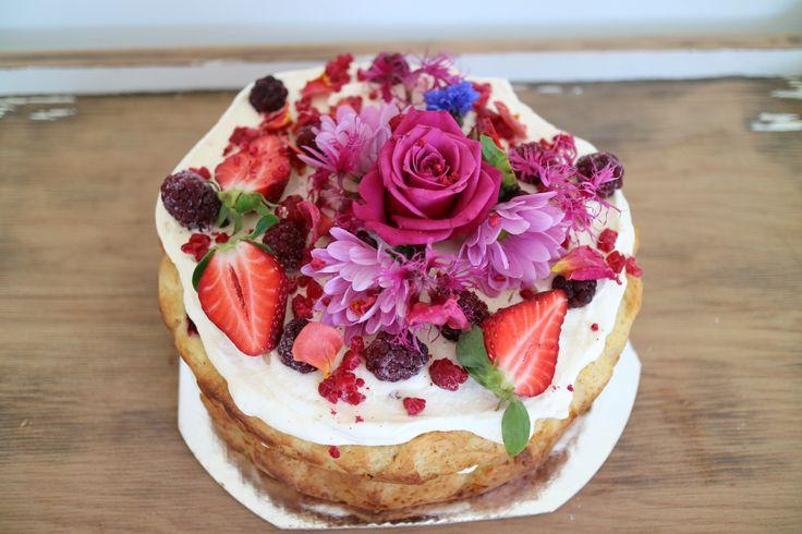 French vanilla summer berry birthday cake