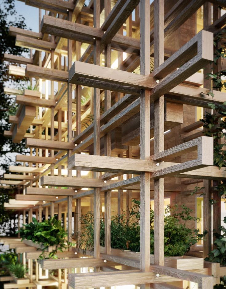 Criss-Crossing Joinery of 'Gardenhouse' with Ledges for Plants