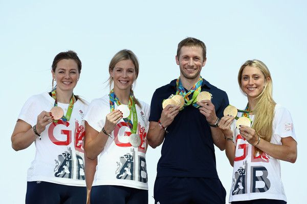 Laura Trott Photos Photos - (l to r) Team GB cyclists Katy Marchant, Rebecca…
