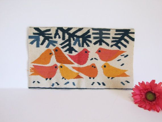 Sueco vintage twist lana pájaros  // Escandinavo por tiendanordica