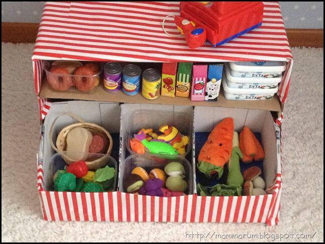 Giochi fai da te: come costruire un banchetto del mercato per bambini con le scatole di cartone