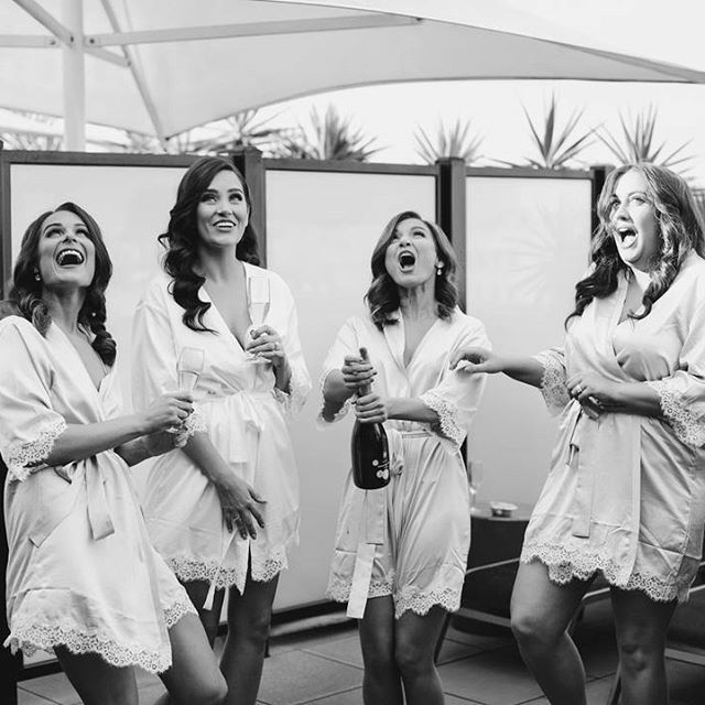 Congratulations to the beautiful bride Simone ✨ you and your bridesmaids look gorgeous in our 'Touch of Lace' robes 💗 LR xxx @simonescully