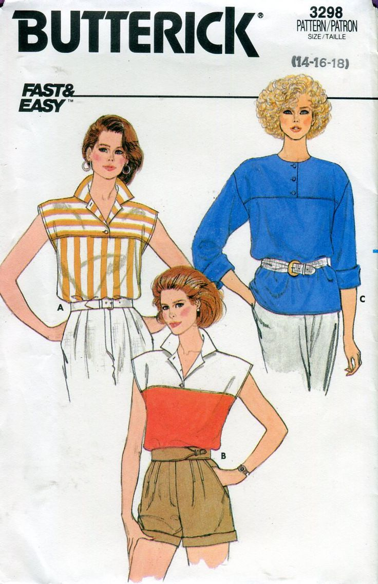 1980s Butterick 3298 Misses Top Vintage Sewing Pattern Drop Shoulder Yoke Cap or Long Sleeves Size 14 16 18 UNCUT by PengyPatterns on Etsy