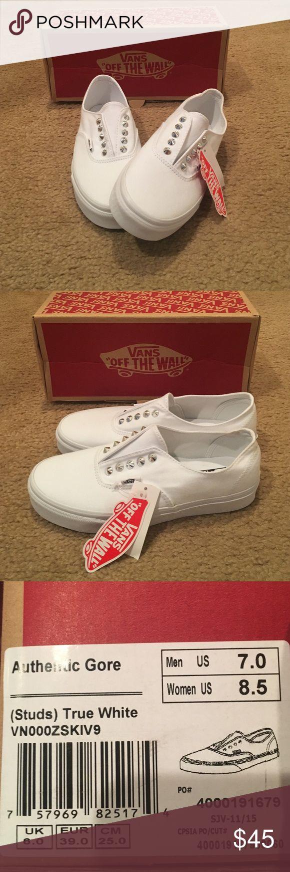 Authentic Gore studded Vans Unisex. True white. Silver studs. Vans Shoes Sneakers