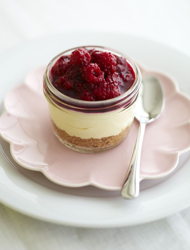 ORANGE-BLOSSOM RASPBERRY & WHITE CHOCOLATE CHEESECAKE IN A JAR. Styling Amber Armitage, photograpahy Manja Wachsmuth. Shot for Homestyle magazine, issue 50.