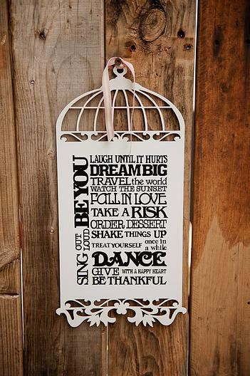 Wooden Birdcage With Quote - Laugh until it hurts...