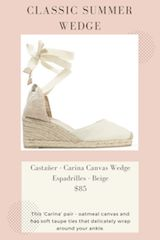 Classic summer wedge from Castener. Carina' pair - one of the Spanish label's signature styles - is crafted from oatmeal canvas and has soft taupe ties that delicately wrap around your ankle. Wear them with everything from maxi dresses to shorts. #affiliate//summer wedge//summer sandal
