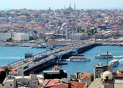 Galata Bridge as seen from the viewing deck on Galata Tower, from the north.