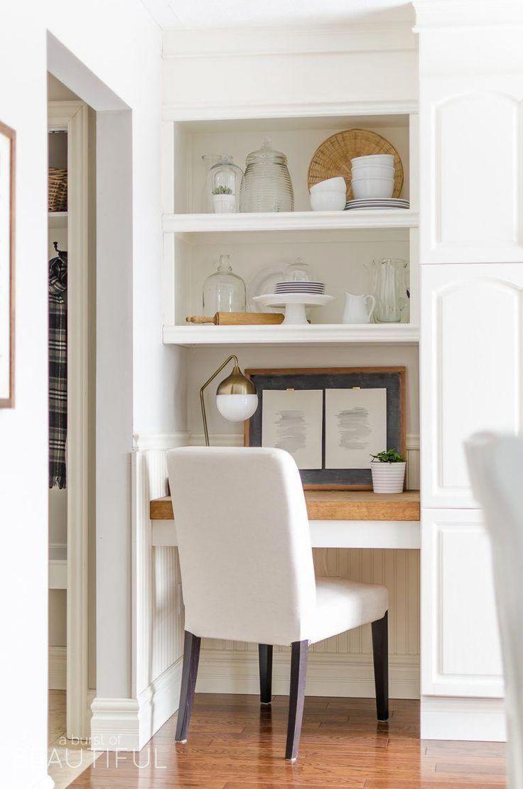 DIY Floating Desk with Storage | Tutorial – A Burst of Beautiful #homeofficefurn…