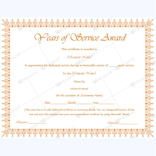 Printable years of service award serviceyearaward for Years of service award certificate templates