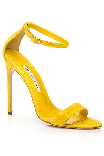 Manolo Blahnik 2014 Spring-Summer- Yellow ankle strap sandals. | luxuryshoeclub.com #manoloblahnikheelsstilettos