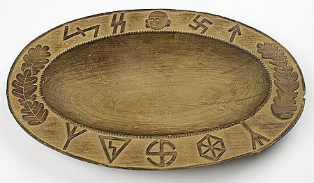 """Description: WOOD FESTIVAL BOWL FROM WEWELSBURG CASTLE  Rare relic from Wewelsburg Castle, the cultural and spiritual center of the SS, an ornately carved wood """"festival bowl"""" used at SS wedding ceremonies and during solstice festivals"""