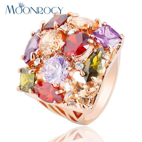 Darmowa Wysyłka moda MOONROCY hiperboliczne kryształowe rings biżuteria różowe złoto kolor dla Kobiet pierścionki nowy multicolor kryształowy pierścień nowy