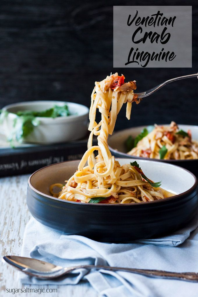 This authentic Venetian Crab Linguine, like all Italian food is simple flavours in an easy meal that tastes amazing. #italianfood #italianrecipes #crablinguine via @sugarsaltmagic