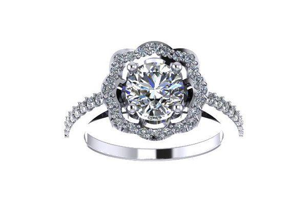 Diamond Engagement Ring Moissonite Engagement Ring 14K White Gold with 6.5mm Moissanite Center - V1078 on Etsy, $1,295.00