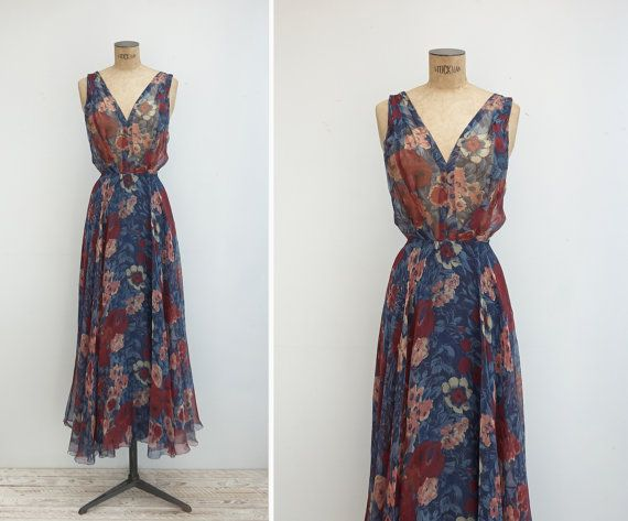 1970s Gown Vintage 70s Floral Silk Chiffon by GoldenCraneVintage